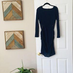 Laundry-Shelli Segal Navy Blue Long Sleeve Dress